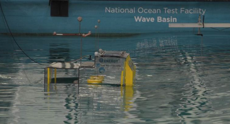Testing was completed in both the flume as well as Ireland's Hydraulics and Maritime Research Centre (HMRC) basin. A backward-bent duct buoy (BBDB) floating oscillating water column (OWC) wave energy converter (WEC) device in HMRC 's wave basin.