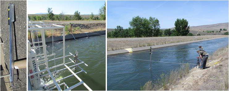 The acoustic Doppler velocimeter (ADV) probe, mounted on a hydrofoil (left). The ADV measures inflow velocity immediately upstream of the turbine (center). A cableways system used for deploying the ADV at different points along the canal cross-section (right).
