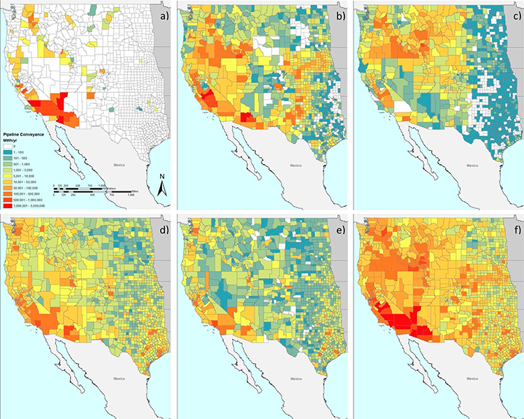 Electricity use by water service sector and county. Shown are electricity use by (a) large-scale conveyance, (b) groundwater irrigation pumping, (c) surface water irrigation pumping, (d) drinking water, and (e) wastewater. Aggregate electricity use across these sectors (f) is also mapped.