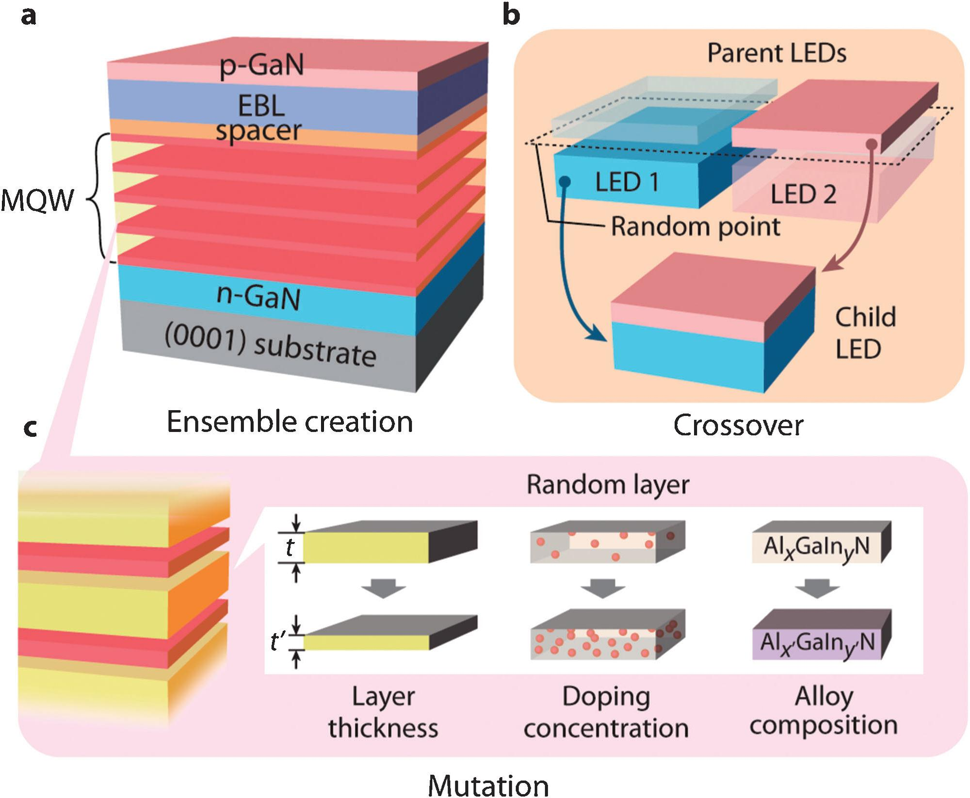 Light emitting designs - Genetic Algorithm For Innovative Device Designs In High Efficiency Iii V Nitride Light Emitting Diodes