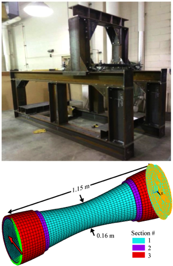 Multiple-scale wind-blade material test frame (top) along with model of bending test specimen (bottom).