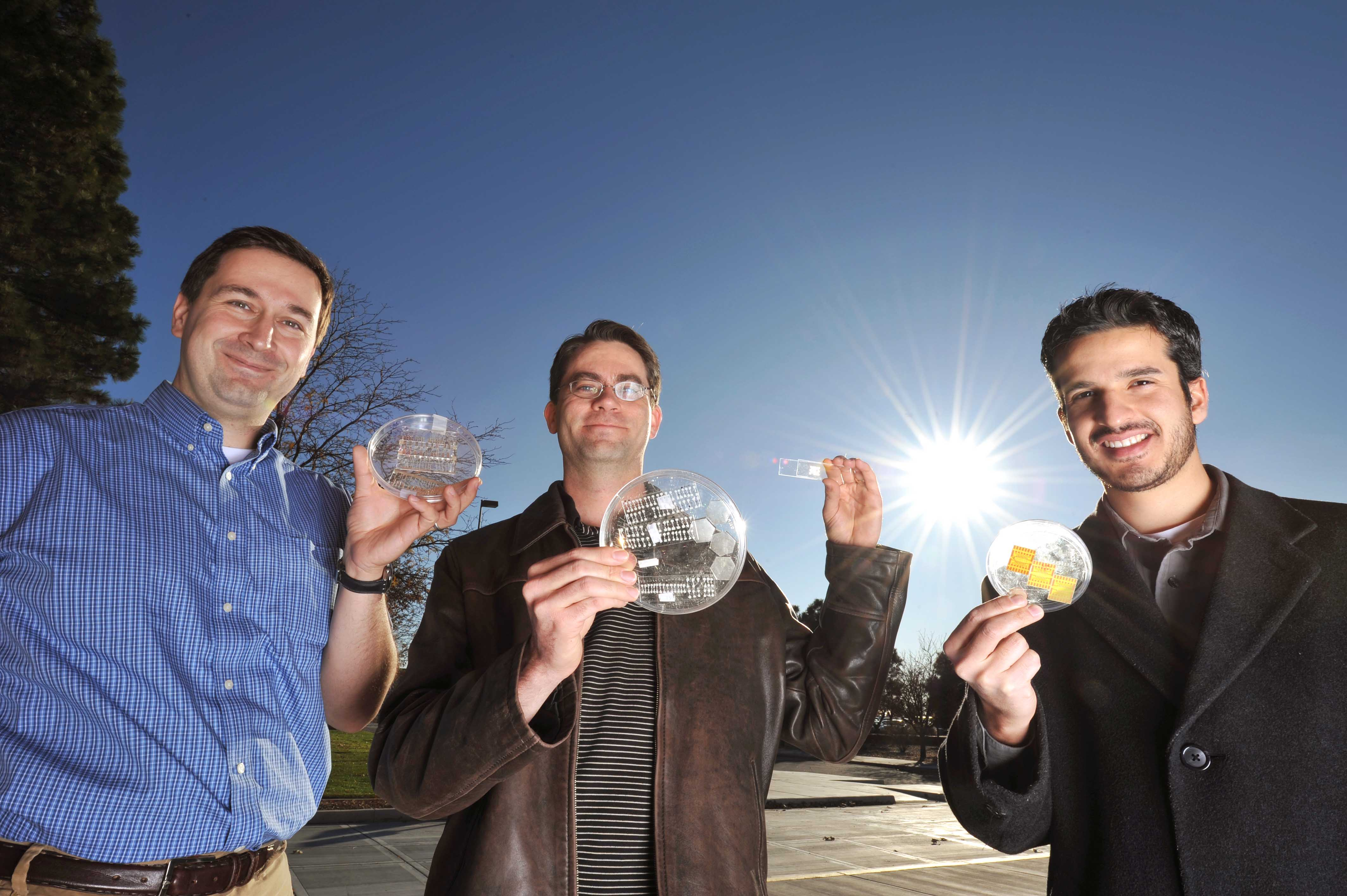 Jose Luis Cruz-Campa (right) along with fellow Sandia re-searchers Murat OKandan (left) and Greg Nielson (center) hold samples containing arrays of microsystems-enabled photovoltaic (MEPV) cells. (Photo by Randy Montoya)