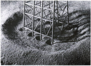 Example of local and global scour around a multiple pile structure (from Whitehouse, 1998; reproduced from Angus and Moore, 1982).