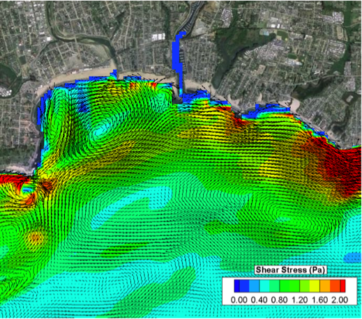 Combined wave and current induced shear stress and velocity vectors simulated in the Santa Cruz Bight, CA region of the Monterey Bay model domain. This model domain was used to demonstrate the utility of combining wave, circulation, and sediment transport modeling to predict near shore sediment stability in the presence of an offshore wind array.