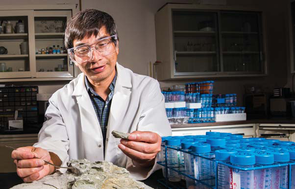 Yifeng Wang examines a clay sample from South Dakota as part of iodide experiments. A team of Sandia researchers is working to understand how rapidly iodine-129 released from spent nuclear fuel would move through a deep clay-based geological repository. (Photo by Randy Montoya)