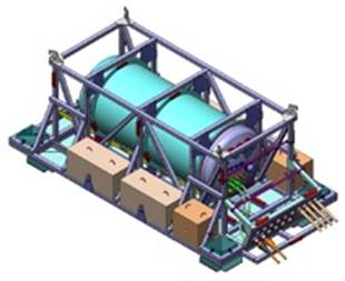 Artist's conception of a submerged power pod. (Illustration courtesy of Ocean Power Technologies, http://oceanpowertechnologies.com/pod.html.)
