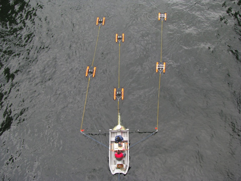Photo of test set-up showing skiff and array of catamaran-mounted acoustic Doppler current profilers.