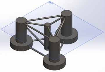 Model element for the semisubmersible platform used to finalize turbine (based on the Sandia 13.2 MW reference turbine) and platform (based on the Princple Power Inc. WindFloat platform) specifications for the project.